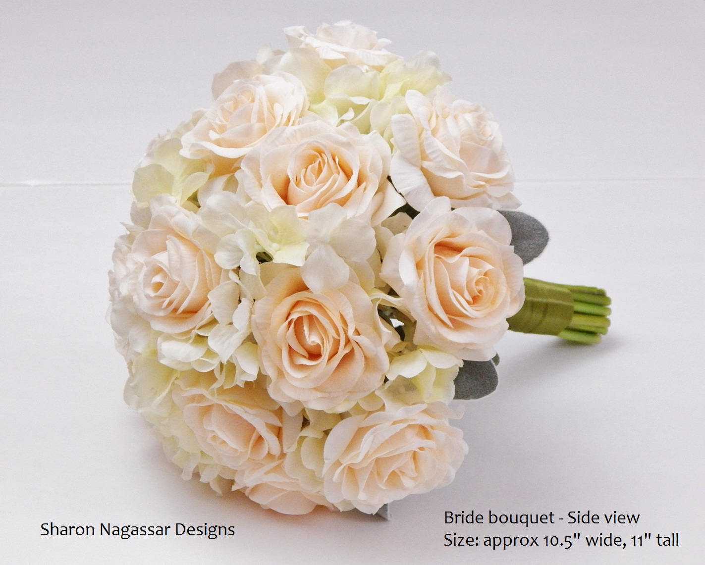 Champagne/blush, Ivory/cream, Rose/roses, Hydrangea, Bouquet, Real Touch  Flowers, Silk, Bride, Groom, Wedding, Set