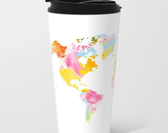 World Map Metal Travel Mug - Stainless Steel Travel Mug With Lid - Gift For Women - Aldari Home
