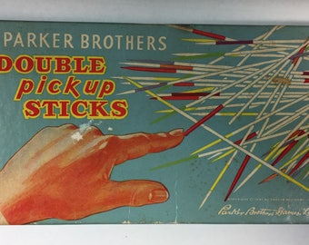 Vintage Parker Brothers Double Pick Up, Pick Up Sticks, Wood, Game, Copywrite 1961