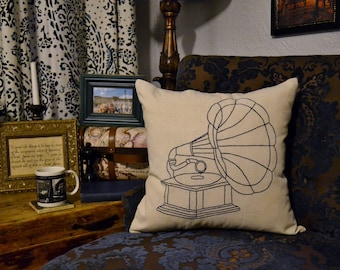 Gramophone Pillow Cover Hand Embroidery Linen Pillow Sham Vintage Victrola Throw Pillow Phonograph Art Gift for Music Lover Industrial Decor