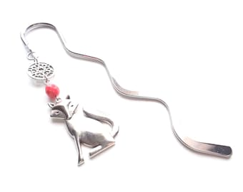 Fox Bookmark, Silver Bookmark, Coral Pink Bookmark, Metal Bookmark, Bookmarker, Planner Bookmark, Charm Bookmark, Fox Pendant, Gift For Her