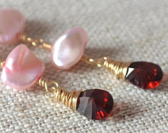 Long Pink Pearl Earrings, Genuine Garnet Gemstones, Bridal Jewelry, Gold Filled, Genuine Keshi Pearls - Long Romance - Free Shipping