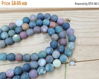 "SAVE 20% 1-16"" Strand Fancy Jasper, Rainbow Jasper With A Few Bloostone Beads Matte Flat Finish Smooth 10mm Rounds (38 Beads)"