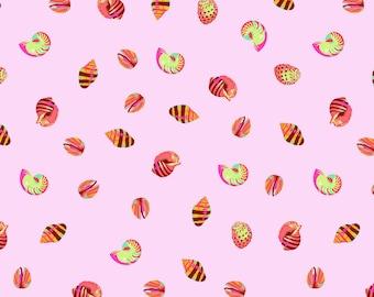 PRE-ORDER Tula Pink Zuma, Seashells in Glow Fish, Pink Nautical Fabric, Shell Fabric, Bubblegum Pink Fabric, Beach Fabric, PWTP121.GLOWF
