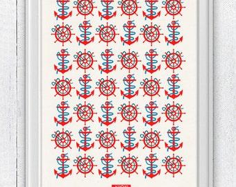 Ahoy Nautical Pattern - Vintage nautical Poster  - Pop style original print NTC003