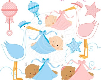 Special Delivery Cute Digital Clipart - Commercial Use OK - Stork Clipart, Stork Baby Clipart, New Baby Clipart