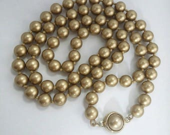 Vintage Hand Tied Glass PEARL single strand Necklace