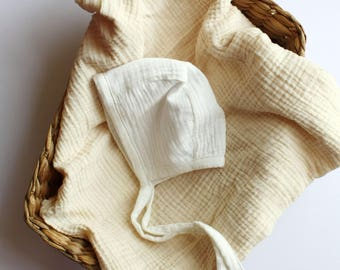 Double gauze Bonnet / White / gender neutral