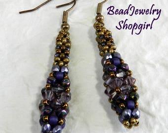 Purple & Bronze Dangling Earrings