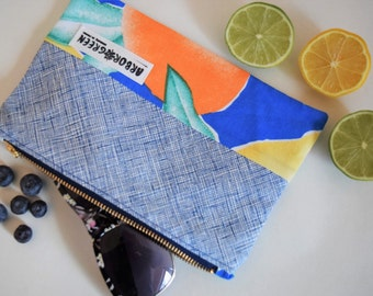 Handmade, Upcycled, Recycled Zipper Pouch, Make-Up Bag, Pencil Case, Tropical, Colour Block, Spring and Summer