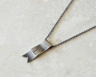 Initial Banner Necklace - Sterling Silver