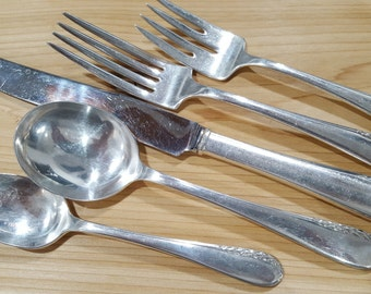 Antique WALLACE Silver 1934 ULTRA 5 Pc Silverware Place Setting