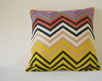 Multi Colour  Embroidered Chevron Woolen Cushion Cover , Bright Embroidered ZigZag Pillow Cover , Graphic Woolen Embroidery on Cotton Pillow