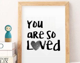 So loved wall art, minimalistic art printables, black white decor,  print posters kids, playroom decor, instant download prints, wall art