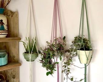 3 pack, Modern Macrame Plant Hanger! Choose from Natural cotton/Black/Pink/Purple/Green- 94 cm length