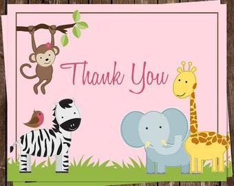 Baby Shower Thank You Cards, Jungle Jill, Girl, Jungle, Safari, Pink, Monkey, Zebra, Giraffe, Elephant, 20 Folded Cards, FREE Shipping