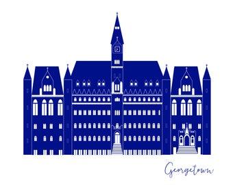 Washington DC Georgetown University Healy Hall Card A2