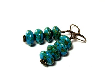 Marbled Turquoise Earrings - Turquoise Stack Earrings