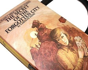 Nancy Drew Book Purse Secret of the Forgotten City Vintage Handbag Upcycled Book Bag