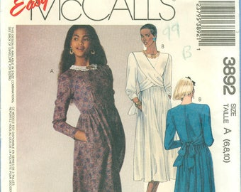 1988 Misses' Long Sleeve Empire Waist Dress With Front Cross Drape Uncut Factory Fold Size 6,8,10 - McCall's Sewing Pattern 3892