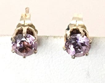 Amethyst 5 mm Round Faceted Post Earrings 925 Sterling Silver  gw17-285