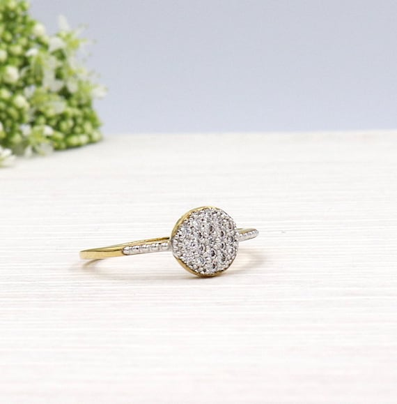 plated lozenge gold covered with cubic zirconia ring