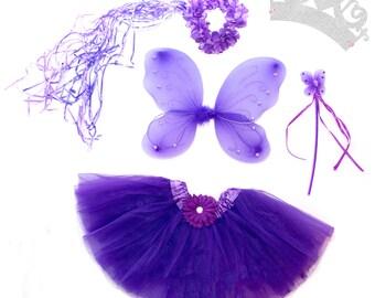 5 Piece Shimmering Purple Fairy Princess Costume Set
