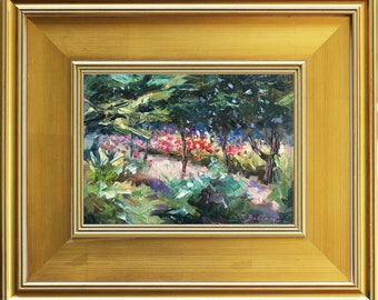 Rose Garden, Flower Garden, Original Oil Painting, Garden Painting, Spring Time Painting, Home Decor, Wall Decor, Impressionist Framed