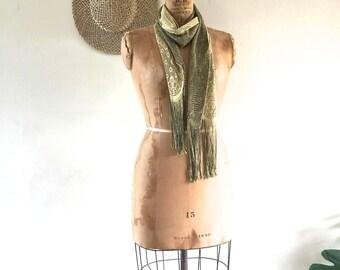 Vintage Gold Metallic Scarf with Fridge, Evening Wear, Art Deco, Vintage Accessory, Lazy Day Vintage NZ
