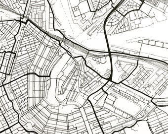 AMSTERDAM Map Street Map The NETHERLANDS City Map Drawing Black and White (Art Print) Wedding Anniversary Gift Wall Decor