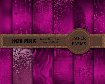 Vintage digital paper, pink digital paper, glamorous digital paper, hot pink, digital scrapbooking, instant download