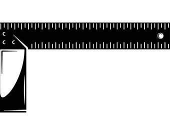 90 Degree Angle #1 Ruler Measure Woodworking Carpenter Tool Build Occupation Service Logo .SVG .EPS .PNG Clipart Vector Cricut Cutting File