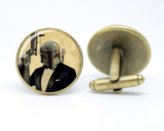 Star Wars Dapper Boba Fett vintage inspired Star Wars Bounty Hunter The Empire Strikes Back bronze / silver plated cufflinks