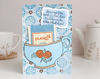 Cuppa Herbal Tea Blank Greetings Card with Detox Tea