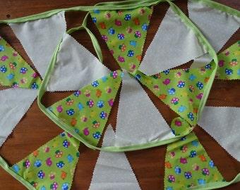 Toadstool Fabric Bunting, 3 metres