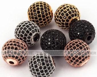 2/10pcs Shamballa round ball bead Micro Pave Bead,Black Cubic Zirconia CZ beads,Women Bracelet Charms,6mm/8mm/10mm/12mm/14mm/16mm