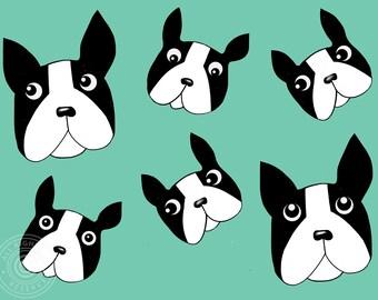 Art print French bulldog, green