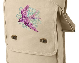 Dancing on the Breeze Embroidered Canvas Field Bag