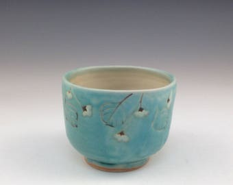 Handmade Yunomi With Turquoise Glaze and Vine and Flowers
