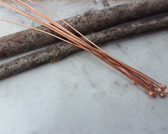 Copper Headpins - Copper Findings - Handmade Copper Headpins - Handmade Copper Findings - Copper Ball Pins - Copper Ball Headpins (BARE)