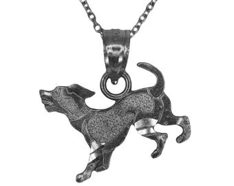 925 Black Rhodium Sterling Silver Dog Necklace with Silver Chain, Animal Jewelry Pet Gift for Men or Women, Puppy Dog Pendant Silver