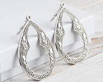 Silver Drop Earrings, Large Teardrop Earrings, Antiqued Silver Plated, Silver Dangle Earrings, Boho Chic Jewelry