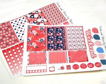 Planner Stickers - Weekly Planner Stickers - Happy Planner Stickers - Day Designer - Functional Stickers - Navy and Coral Floral