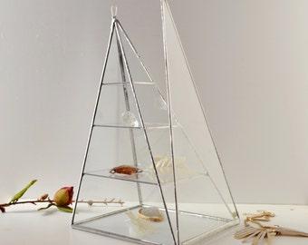 Glass Box Pyramid, Three shelves, Display Box Clear Glass Jewelry Box Pyramid With a Hinged Door