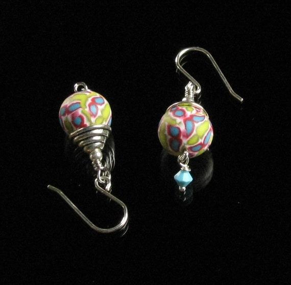 Colorful Drop Earrings, Silver Dangle Handmade Earrings, Art Jewelry, Multicolored Earrings, Unique Gift for Women, Friend, Wife, Mom Gift