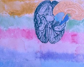 Brain Watercolor Canvas
