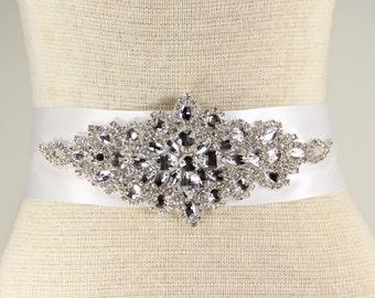 Bridal Sash - Wedding Dresses, Sash Belt - White Satin wedding dress belt - White Bridal Sash - Evening Dress Sash, Prom dress