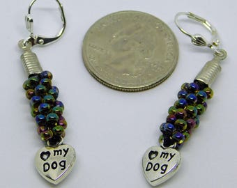 Love My Dog Beaded Earrings
