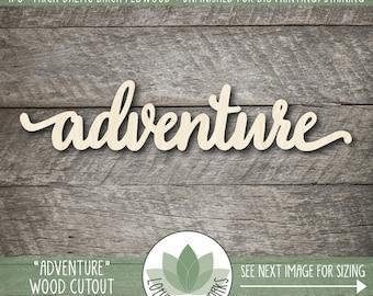 Laser Cut Wood Word, Adventure, Wood Adventure Sign, Gallery Wall Words, Nursery Decor, Wood Words, Blank Wood Shapes