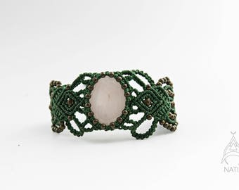 Pink Quartz macrame bracelet